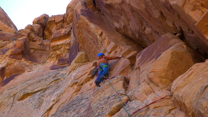Rock Climbing Photo: Chossy final pitch.
