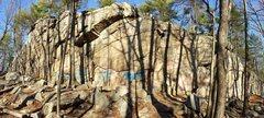Rock Climbing Photo: Panorama of College Rock's main crag.