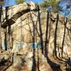 Panorama of College Rock's main crag.