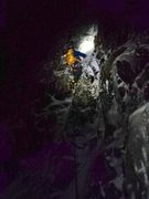 Rock Climbing Photo: Starting up the second pitch. Full moon on 4.4.15