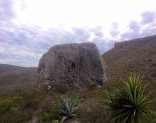 Rock Climbing Photo: Highball hueco warmup
