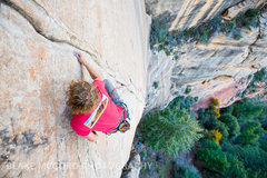 Rock Climbing Photo: Zach Harrison nearing the first anchor.  Photo bla...