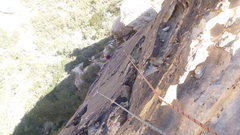Rock Climbing Photo: Kathy just finishing traversing back after the mis...