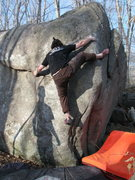 Rock Climbing Photo: Jamie Re working Microslope on the Gilman Boulder.