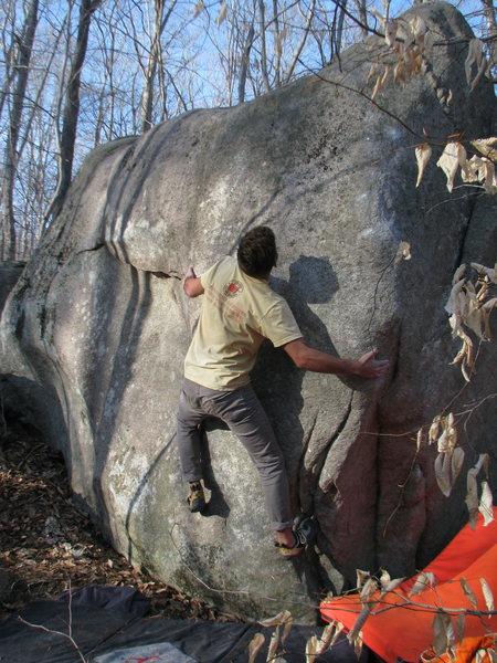 Shann Aharon slapping the slopers - Gilman Boulder