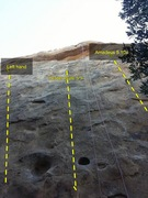 Rock Climbing Photo: Towards the top of center route on Mozarts wall.  ...