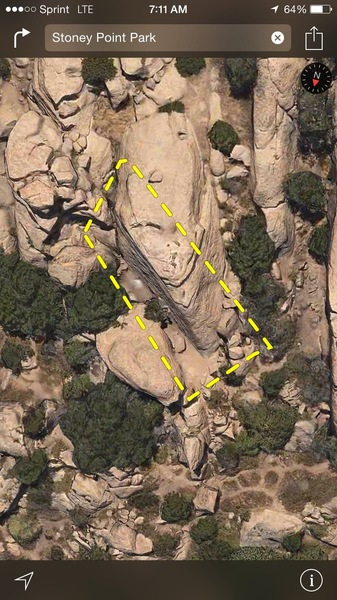 Mozarts wall is the triangle shaped pyramid on the north east side of Stoney point