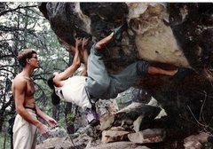 Rock Climbing Photo: Robert Drysdale spotting Dave Gershwin on the FA o...