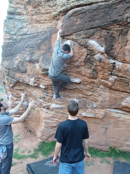 Climbing the Globe Boulder in Zion