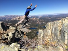 Hiking the Mammoth Crest - couldn't resist this jump.