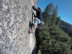 Rock Climbing Photo: Fingerlocks 5.10b at Sugarloaf near Tahoe