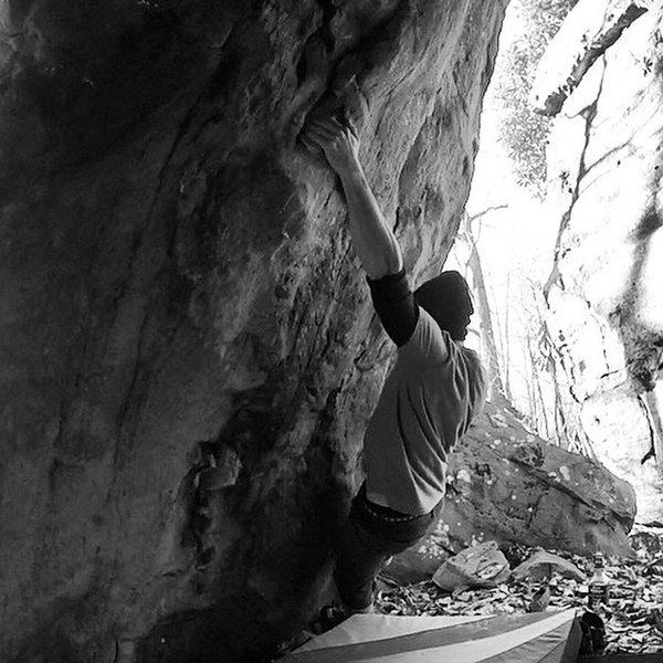 Rock Climbing Photo: Me working Shadow Boxing V6 at Coopers