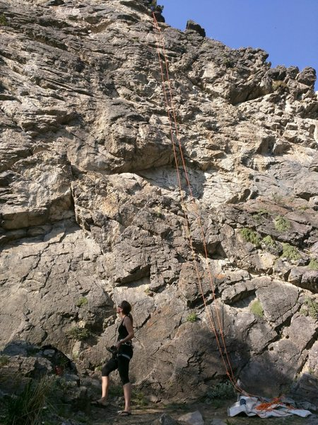 Rock Climbing Photo: Full shot of Alyosha.  Take trail to left of route...