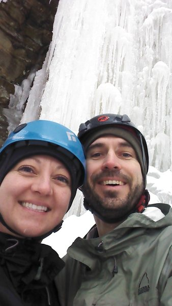 Wife and I ice climbing.