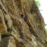 Rock Climbing Photo: At the no-hands rest near the top. April 2015.