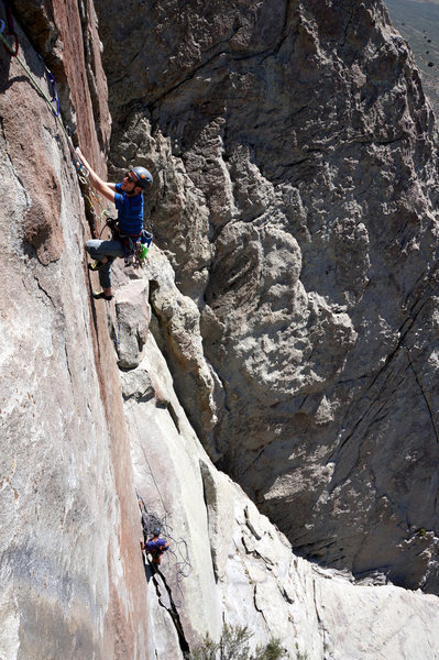 Coming up Southern Rock Opera, 5.11d.  The amount of gear I placed makes this line look more like Frankenstein's stitching than a crack.