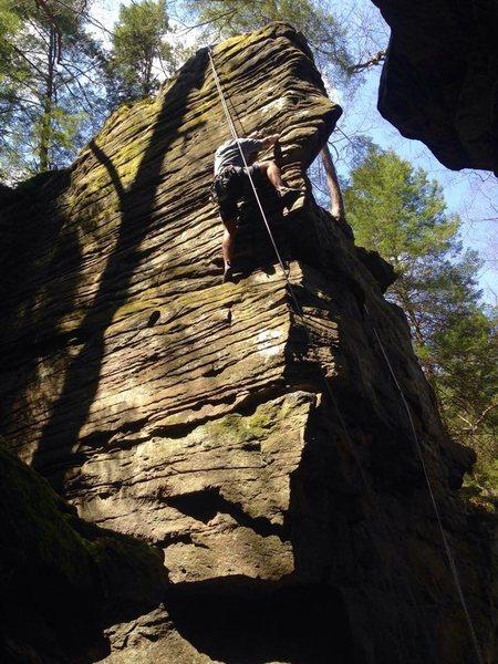 Michael H climbing.