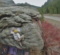 Rock Climbing Photo: Pulling through the crux!