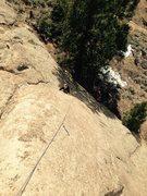 Rock Climbing Photo: Abby Keelty following Slabba Dabba Doo on the FA.