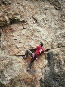 Rock Climbing Photo: Moving to the second bolt on Climb or Die.