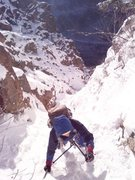 Rock Climbing Photo: Sarah on the easier finish to the left on Shoestri...