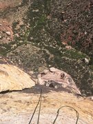 Rock Climbing Photo: Looking down from the top of pitch 6