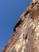 Rock Climbing Photo: Me leading on the start of pitch 4. Started the tr...