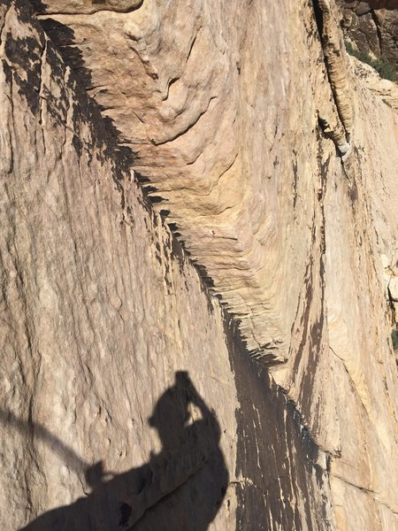 The finger crack on pitch 3 of Solar Slab.
