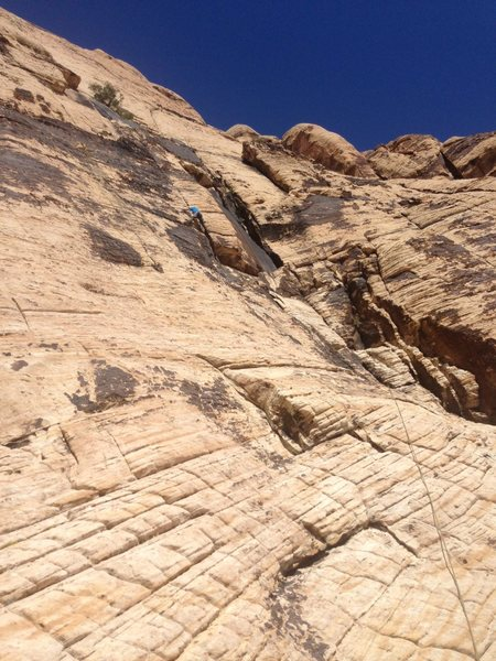 Rock Climbing Photo: Pitch 1 of Solar Slab. Goes up and to the right on...