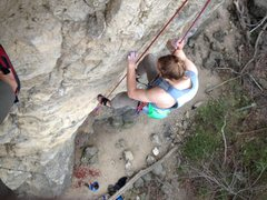 Rock Climbing Photo: Cleaning a route.