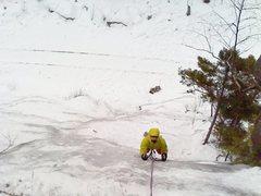 Rock Climbing Photo: Timmy on trestle cut