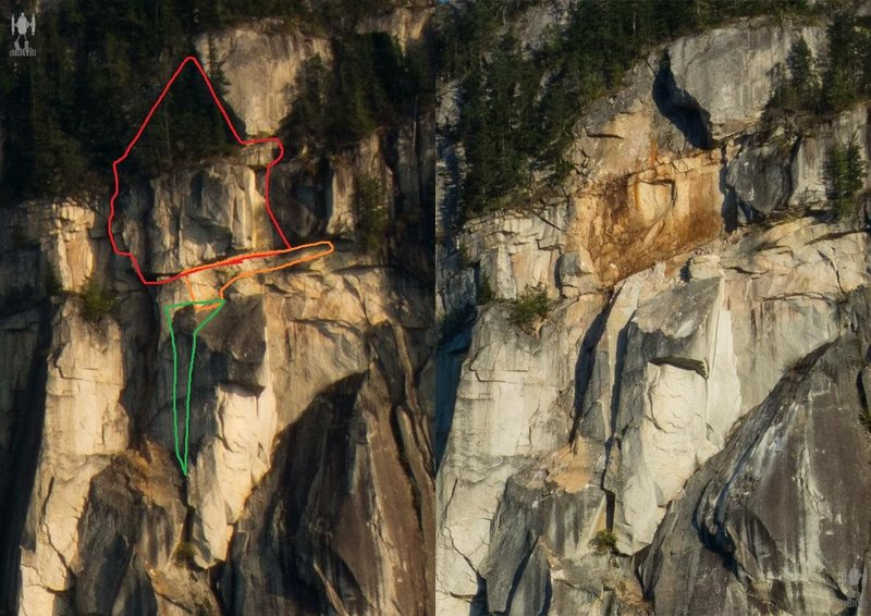 Before and after rockfall pics from Mike Cowper showing damage to upper pitches of The Calling, Chilkoot Pass, & Yukon Gold