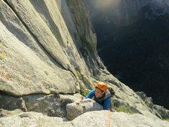 Rock Climbing Photo: My partner Stuart on the face-climbing pitch, much...
