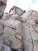 Rock Climbing Photo: Our pitch 6: follow the rope to the rightward esca...