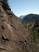 Rock Climbing Photo: climbers on the upper half of Endless Bliss