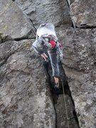 Rock Climbing Photo: climbing through the double cracks on Piton Tower