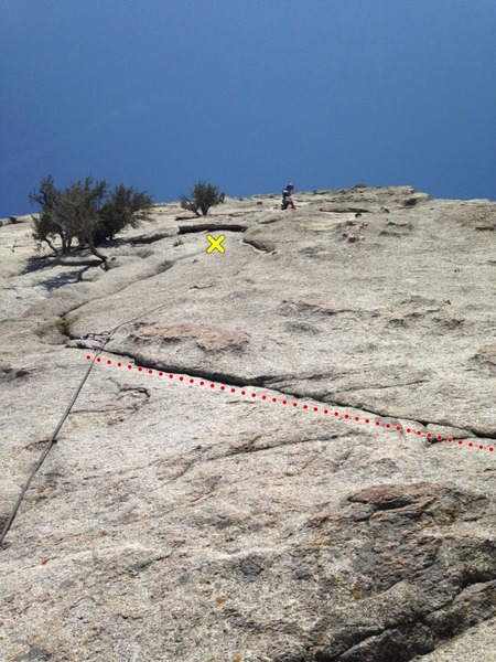 Rock Climbing Photo: This crack (dotted) takes small C3s-ex: 000).  The...