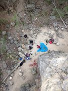 Rock Climbing Photo: Belaying on Sunburst. Shows the arete (don't want ...
