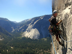 Rock Climbing Photo: Richard happy to be into a bolt. That is his happy...