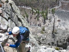 Rock Climbing Photo: Steve gettin' er done. Remember finding about a ha...