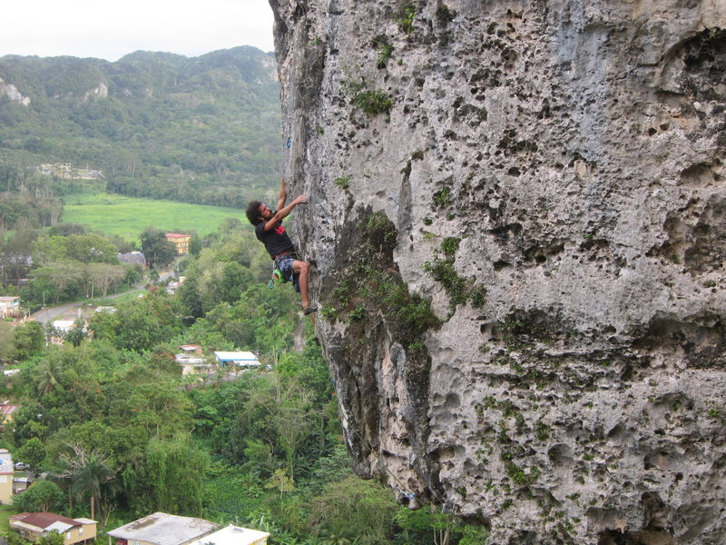 Luis Benet engaging in the upper half of My Right Foot, one of the classic routes at Caliche in Ciales.  In March we found the route dry and very aesthetic.