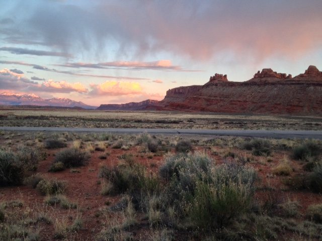 Beautiful sunset in Moab, near Arches National Park.