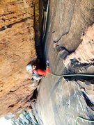 "Rock Climbing Photo: Peter Pribik following the P4 ""sustained offw..."