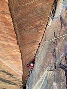 Rock Climbing Photo: Peter Pribik following the oft-photographed P3, gl...