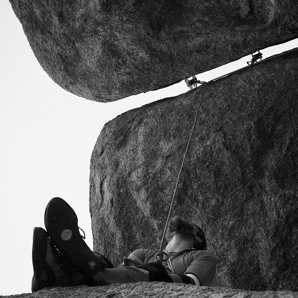 Rock Climbing Photo: Looking up through the crux section..