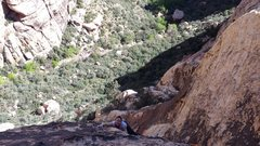 Rock Climbing Photo: Chelsea following P2 on the first ascent of Pooty ...