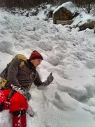 Rock Climbing Photo: Timmy sitting in some big ol avalanche aftermath o...