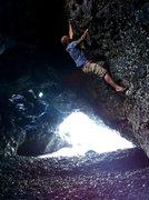 Rock Climbing Photo: Bouldering on black sand beach Maui!!!