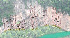 Rock Climbing Photo: Phasak River Wall topo