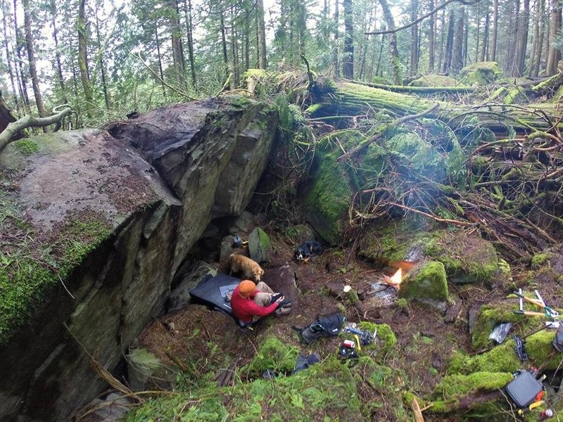Rock Climbing Photo: Frontal Lobotomy in the rain, trail building, with...